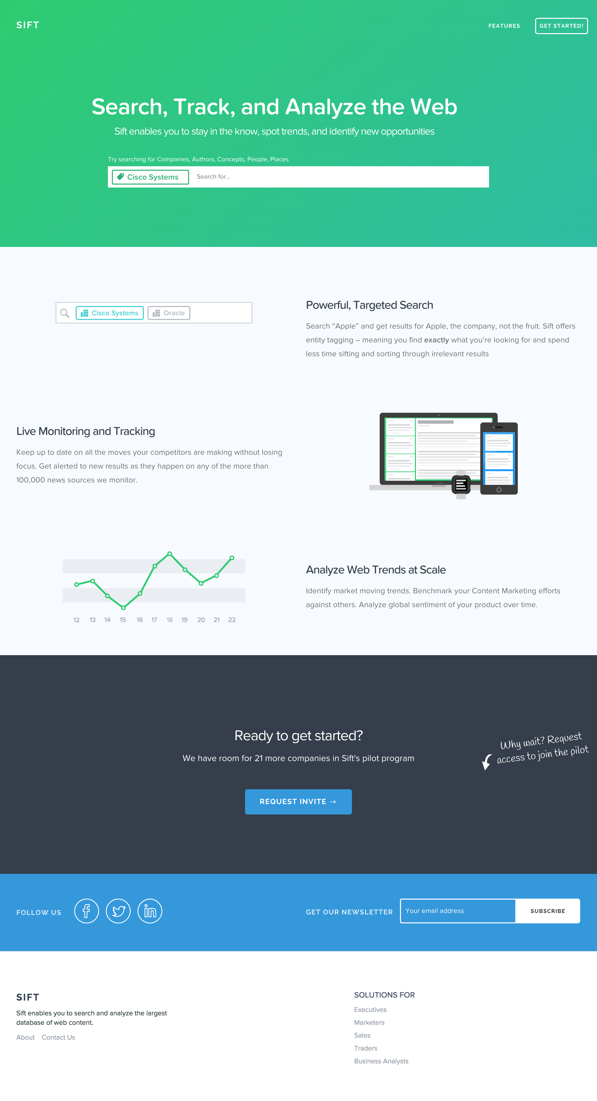 Sift Landing Page